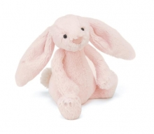 sbb444p- bashful pink bunny rattle custom